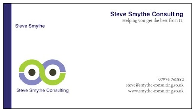 Steve Smythe Consulting Business Card - steve@smythe hyphen consulting.co.uk or text 07976 761882